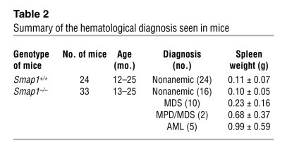 Details of the hematological disorder seen in Smap1–/– mice