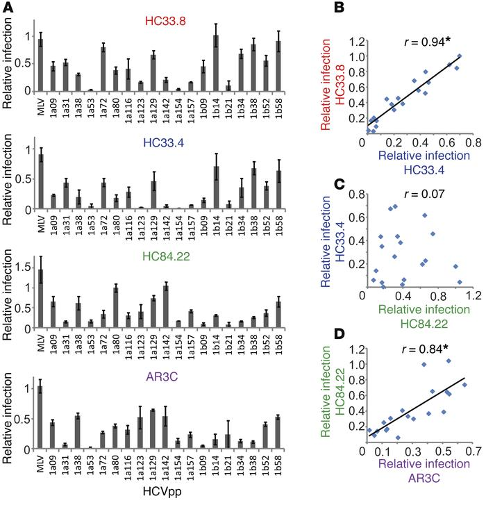 Ranking of library HCVpp resistance reveals relationships among mAbs. (A...