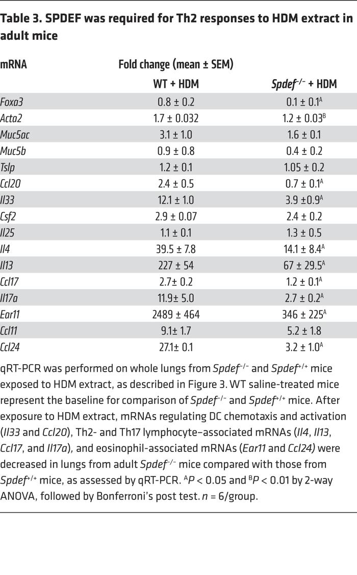 SPDEF was required for Th2 responses to HDM extract in adult mice