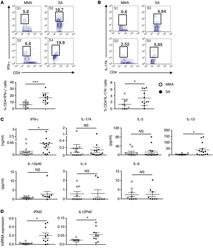 SA subjects harbor more IFN-γ+ and IL-17A+CD4+ T cells in their airways ...