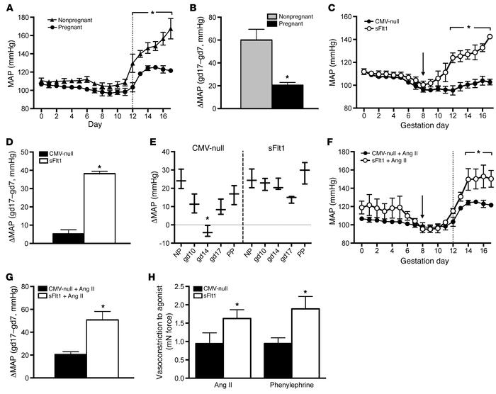 Ang II resistance characterizes normal pregnancy, while sFlt1 overexpres...
