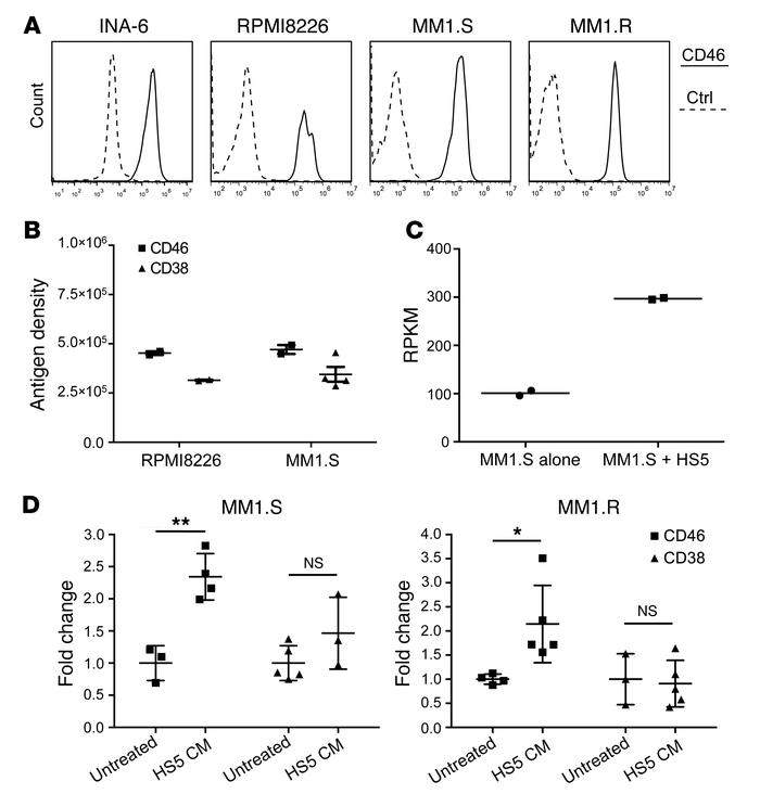 CD46 is highly expressed on MM cells and is further increased in the set...