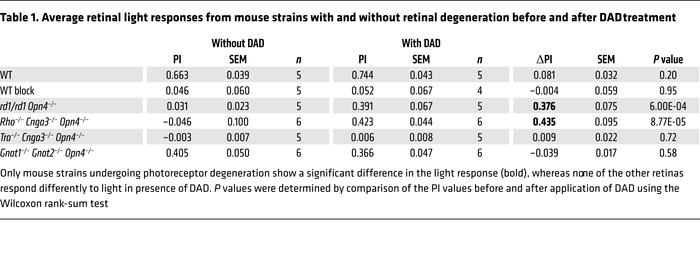 Average retinal light responses from mouse strains with and without reti...