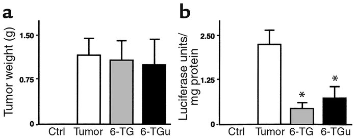 (a) Effect of 6-thioguanine and 6-thioguanosine on tumor weight. Tumor w...