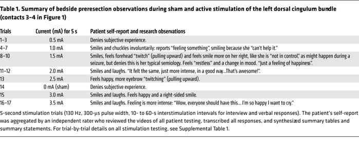 Summary of bedside preresection observations during sham and active stim...