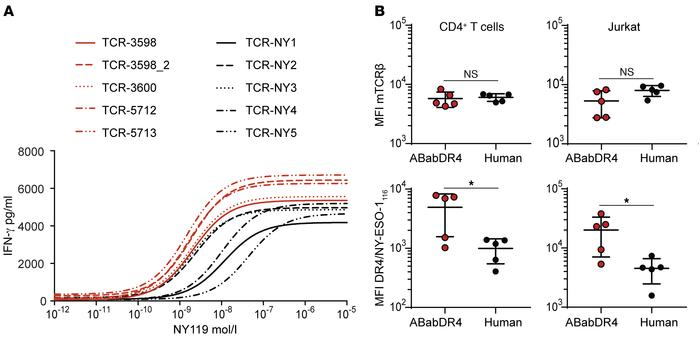 ABabDR4-derived TCRs showed higher functional activity compared with hum...