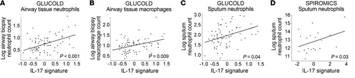 Airway neutrophils and macrophages. (A–C) GLUCOLD (n = 79): The IL-17 si...