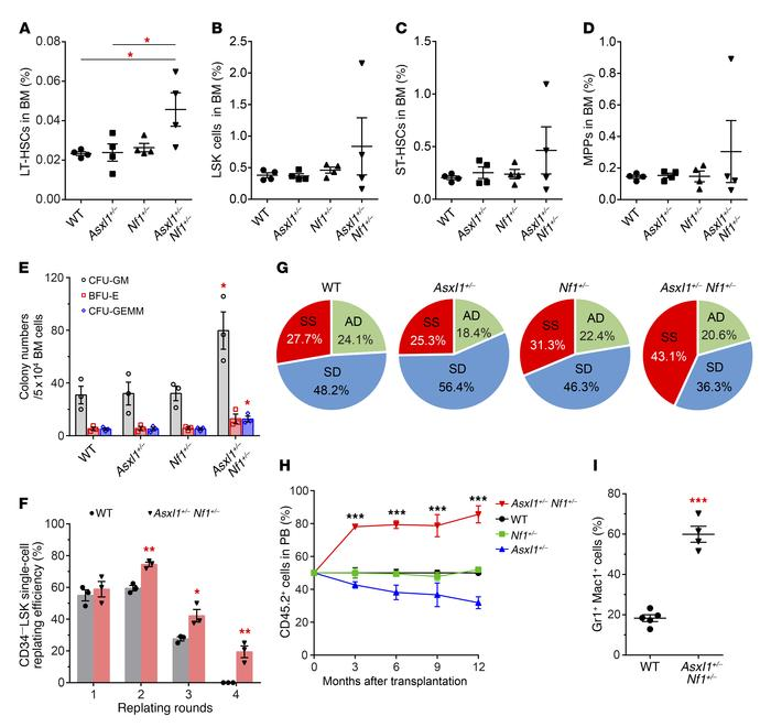 Altered HSC self-renewal and cell fates in Asxl1+/– Nf1+/– mice. (A–D) F...