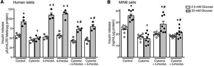 PAHSAs augment GSIS during cytokine-induced β cell distress. Human islet...