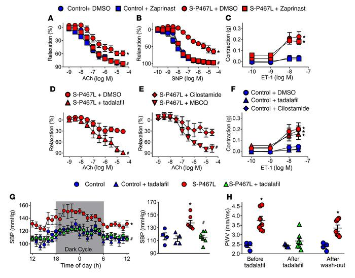 PDE activity and cardiovascular effect of PDE5 inhibition. (A–C) Concent...