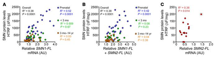 SMN protein expression correlates with SMN1-FL prenatally, but not postn...