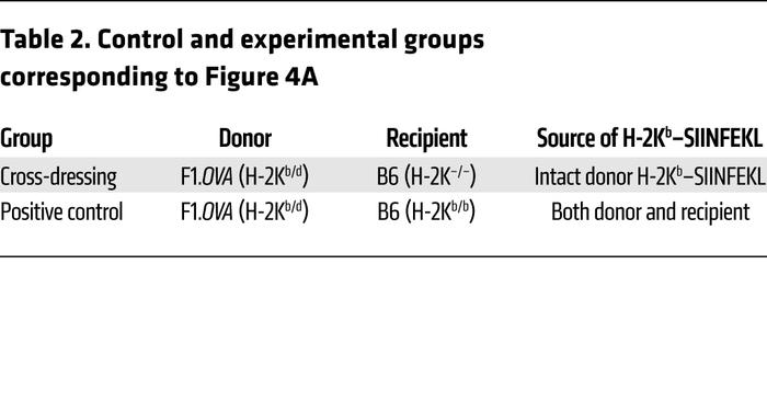 Control and experimental groups corresponding to Figure 4A