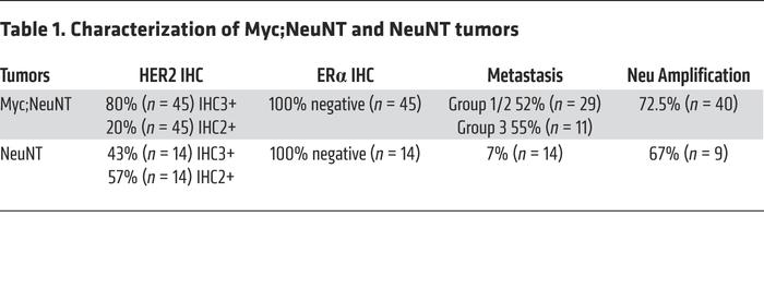 Characterization of Myc;NeuNT and NeuNT tumors