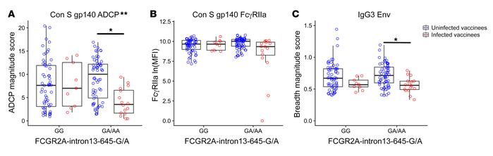 Host genetics (FcγRIIa SNPs) significantly modified the correlation of A...