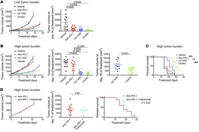 U3-1402 sensitizes HER3-expressing tumors to PD-1–blockade therapy. (A) ...
