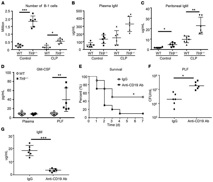 B cells are required for the protective effects of Tlr9–/– mice during s...