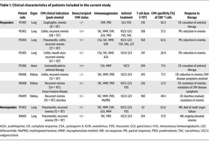 Clinical characteristics of patients included in the current study