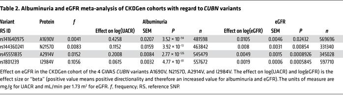 Albuminuria and eGFR meta-analysis of CKDGen cohorts with regard to CUBN...