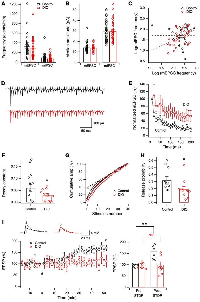 Synaptic deficiency in the Hcrt system in obese mice. (A and B) Frequenc...