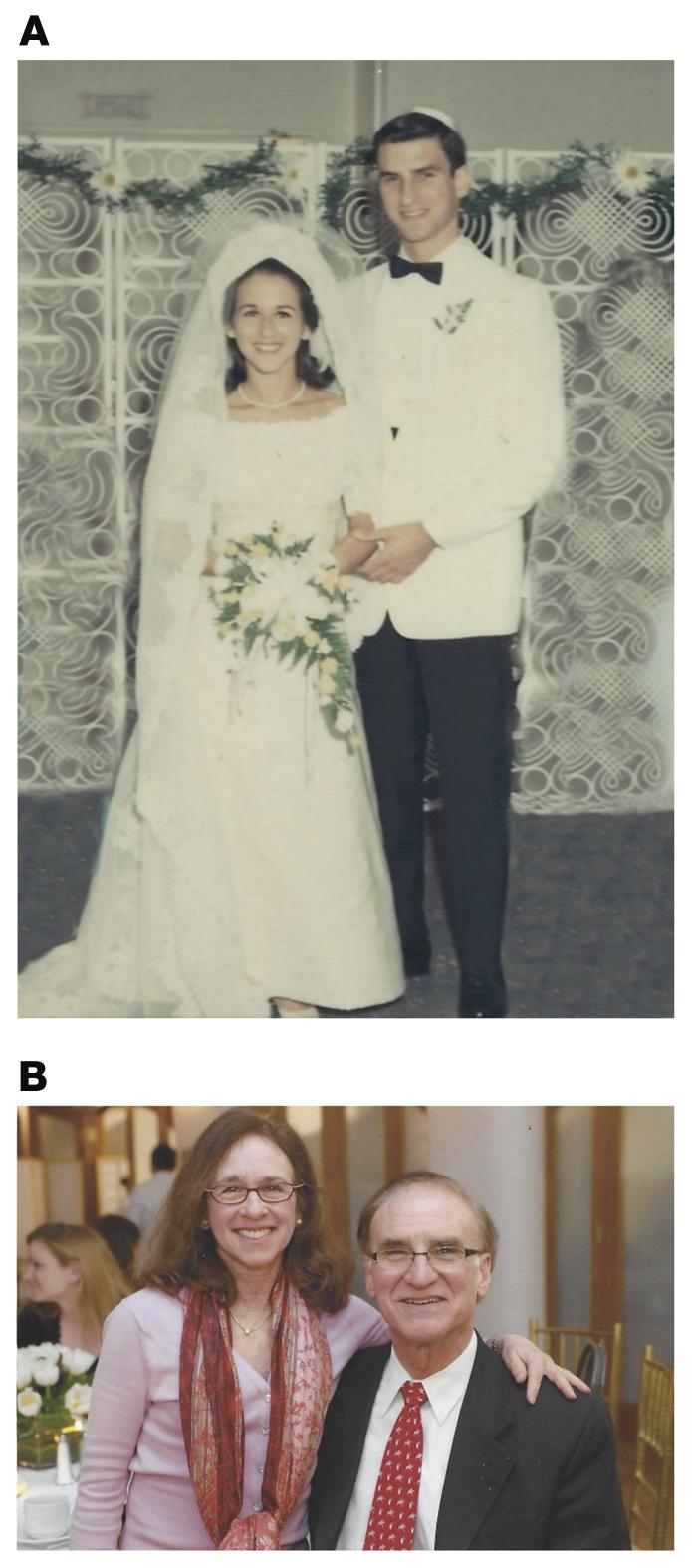 (A) The wedding of Ron and Suzi in 1966. (B) Ron and Suzi in 2019.