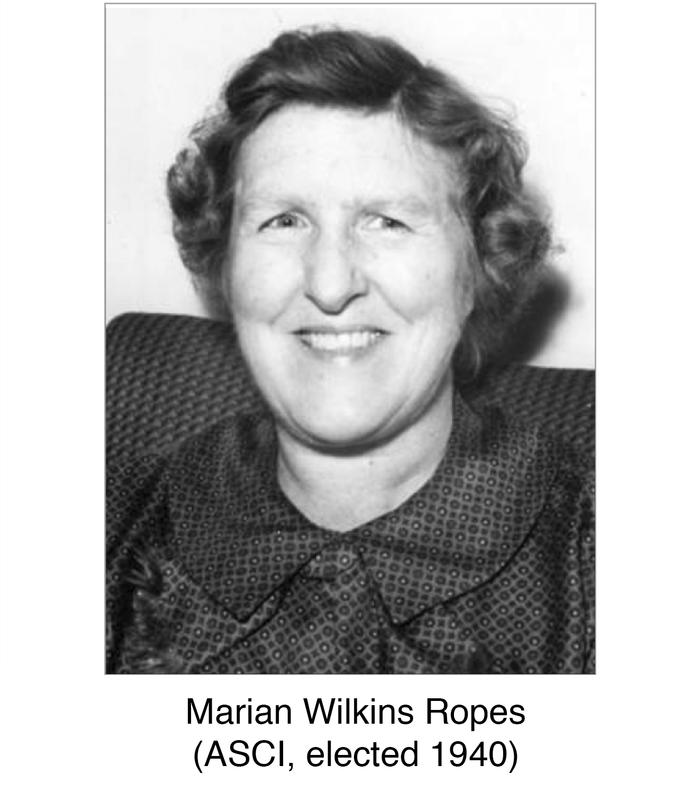 The first female ASCI inductee, Marian Wilkins Ropes, elected to ASCI in...