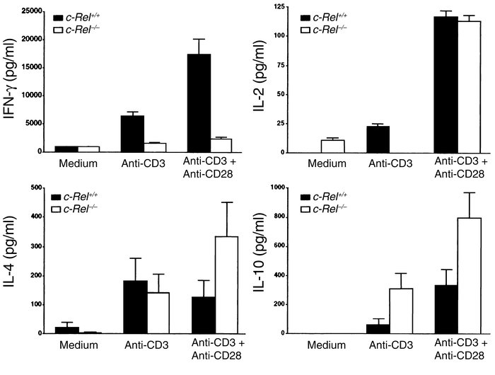 Selective blockade of IFN-γ production in c-Rel–deficient T cells. Norma...