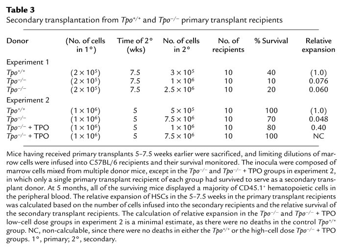 Secondary transplantation from Tpo+/+ and Tpo–/– primary transplant reci...