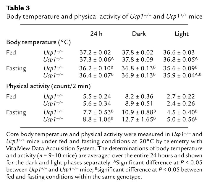 Body temperature and physical activity of Ucp1–/– and Ucp1+/+ mice