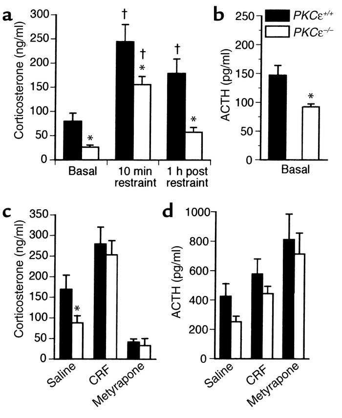 Stress hormone responses. (a) Mean ± SEM corticosterone levels in hybrid...