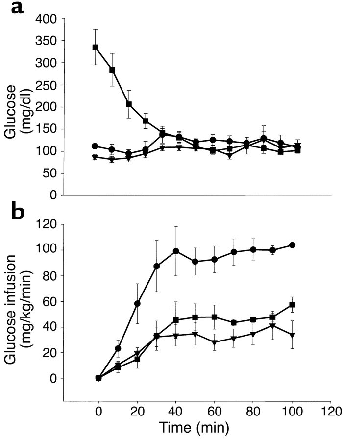 Blood glucose levels (a) and glucose infusion rates (b) during the eugly...