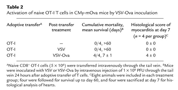 Activation of naive OT-I T cells in CMy-mOva mice by VSV-Ova inoculation