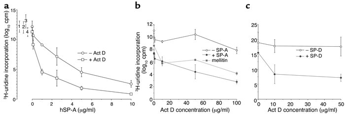 The pulmonary collectins enhance membrane permeability to Act D. (a) E. ...