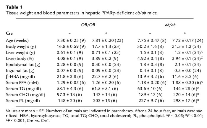 Tissue weight and blood parameters in hepatic PPARγ–deficient ob/ob mice