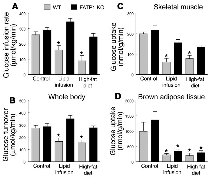 Whole-body and tissue-specific glucose uptake in WT (gray bars) and FATP...