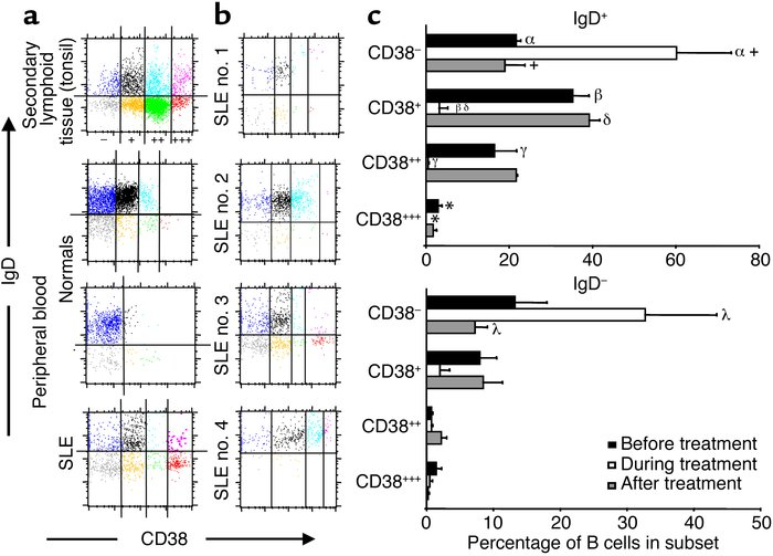 CD38-expressing B cell subsets in active-SLE blood disappear following t...