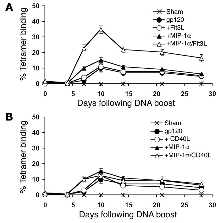 Secondary responses following cytokine-augmented DNA vaccine priming and...