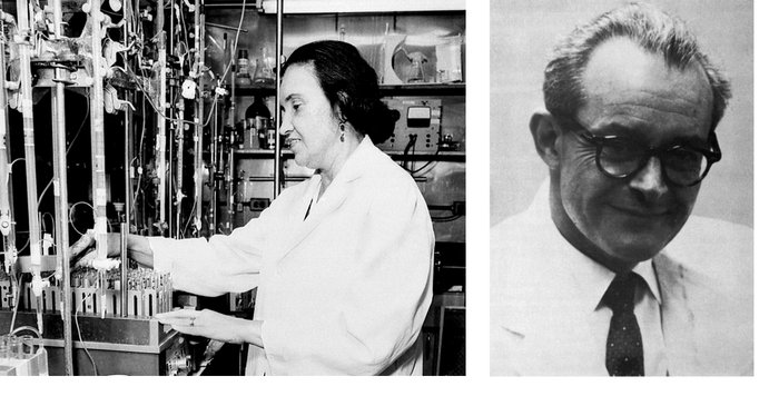 Rosalyn Yalow (left; image courtesy of the National Library of Medicine)...