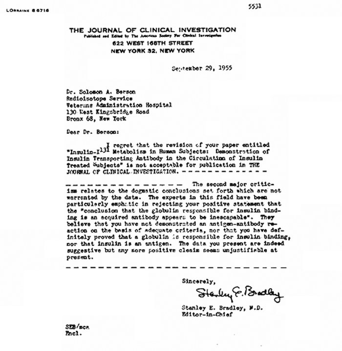Copy of a 1955 JCI rejection letter to Berson and Yalow.