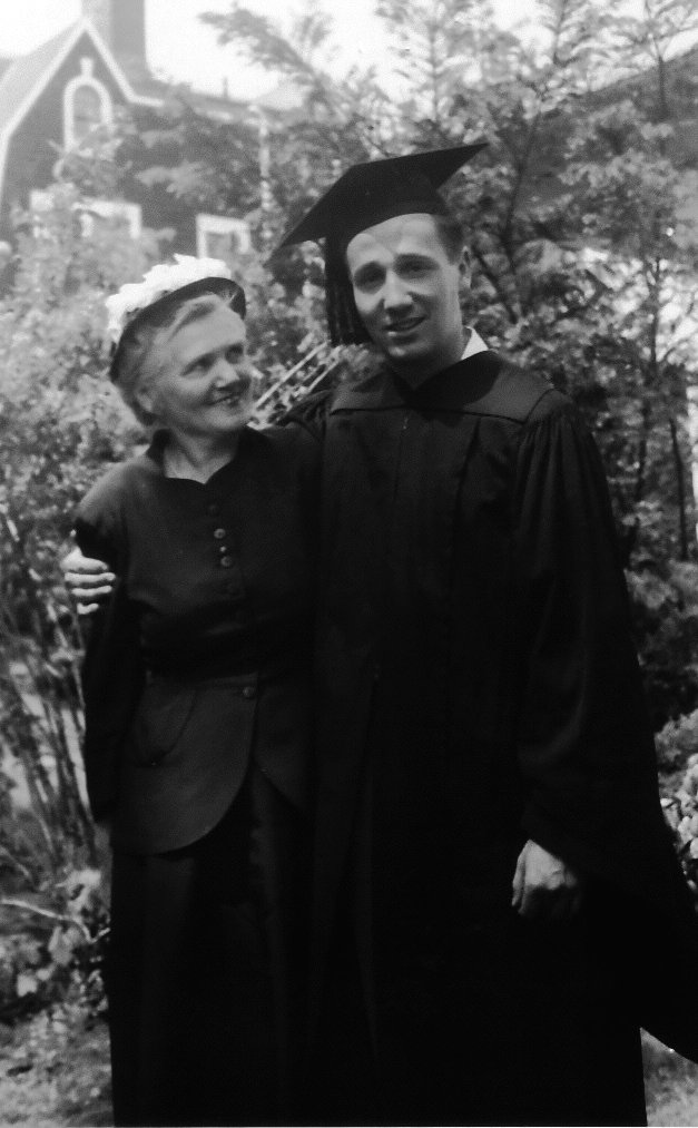 Frank and his mother at his high-school graduation.