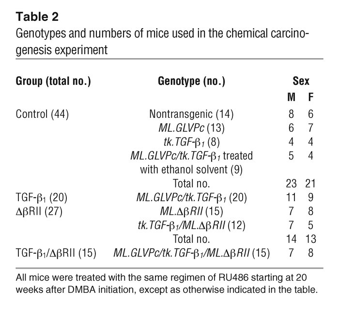 Genotypes and numbers of mice used in the chemical carcinogenesis experi...