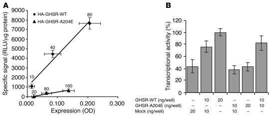 A204E GHSR1a agonist-independent signal transduction via the CRE pathway...