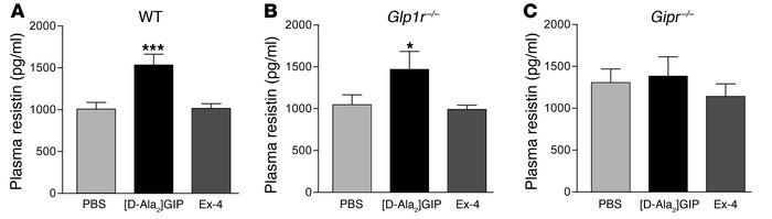 Resistin secretion stimulated by [D-Ala2]GIP in WT and Gipr–/– mice.    ...