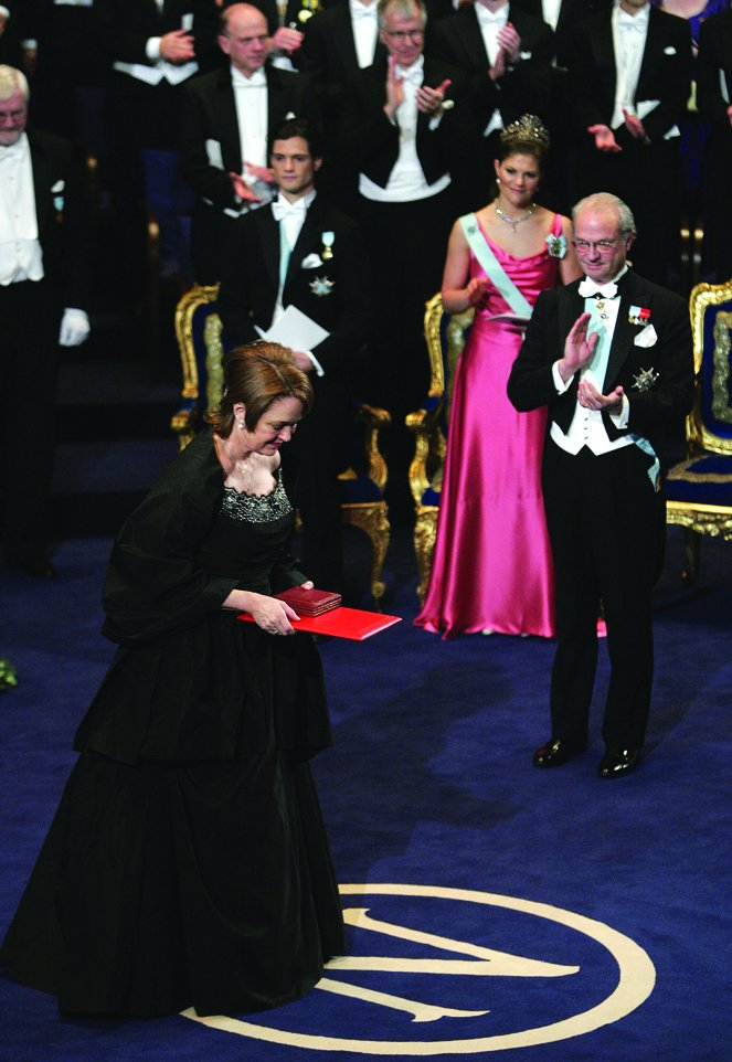 Linda B. Buck leaves the podium after receiving the Nobel Prize in Physi...
