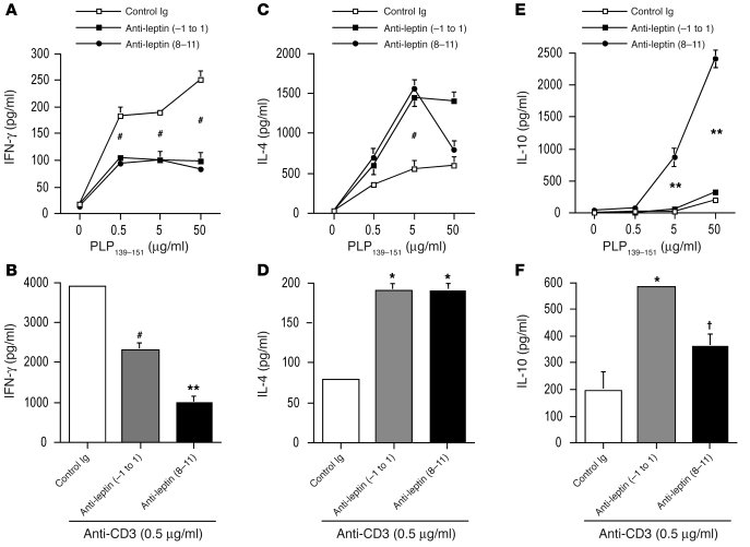 In vivo leptin neutralization with anti-mouse leptin Abs inhibits IFN-γ ...