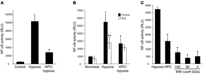 HPC attenuates NF-κB activity via the release of a soluble factor. (A) H...