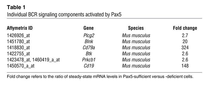 Individual BCR signaling components activated by Pax5