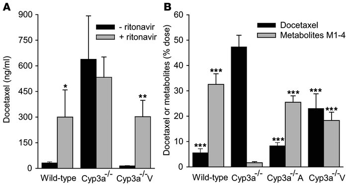 Effect of Cyp3a/CYP3A4 and Cyp3a/CYP3A4 inhibition on docetaxel metaboli...