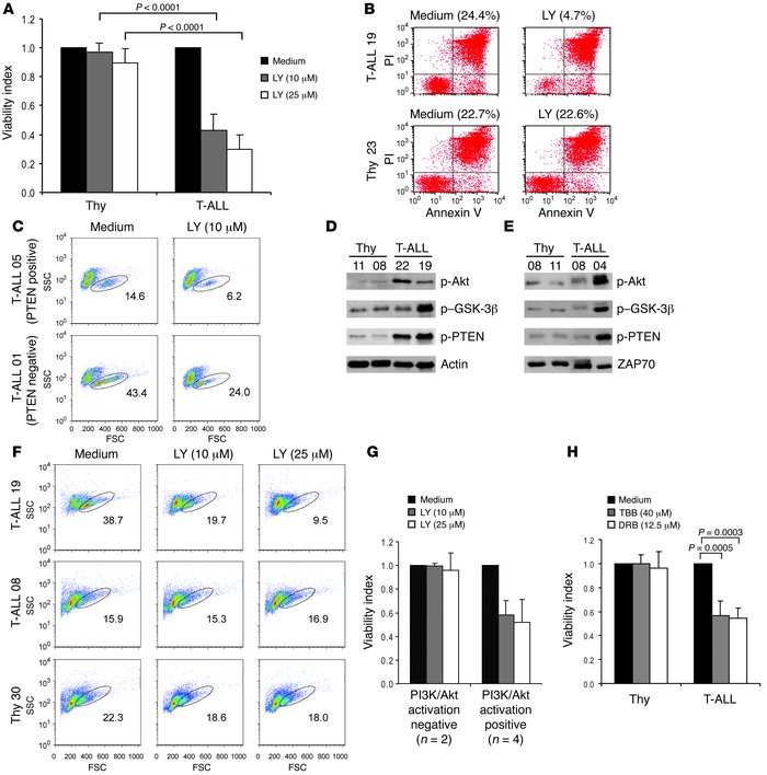 Inhibition of PI3K induces selective cell death of T-ALL cells displayin...