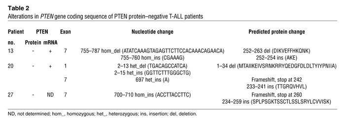 Alterations in PTEN gene coding sequence of PTEN protein–negative T-ALL ...