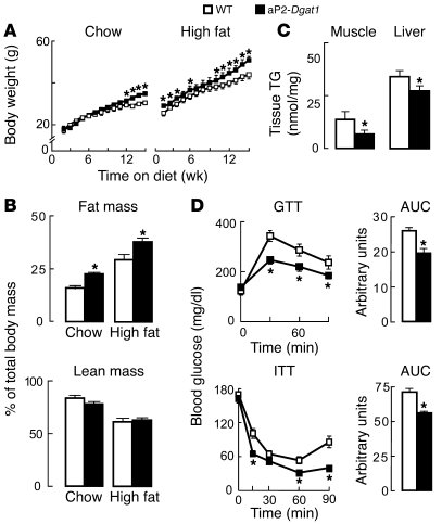aP2-Dgat1 mice are prone to obesity but protected against its metabolic ...